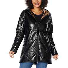 """As Is"" Laurier Diamond Quilted Metallic Coat with Faux Shearling L..."