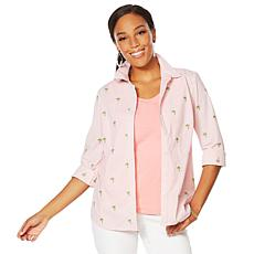 """""""As Is"""" Lemon Way 365 Poplin Stretch Embroidered Button-Down Shirt"""