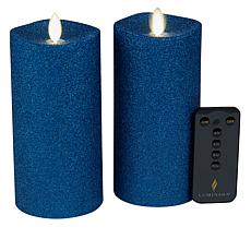 """As Is"" Luminara 6.5 Moving Flame Glitter Candle 2-pack"