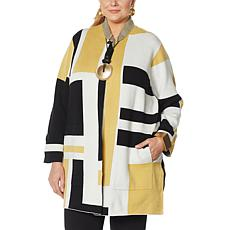"""""""As Is"""" MarlaWynne Colorblocked Double Knit Topper"""