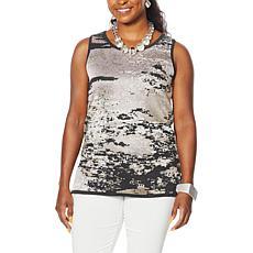 """""""As Is"""" MarlaWynne Jacquard Sweater Knit Tank"""