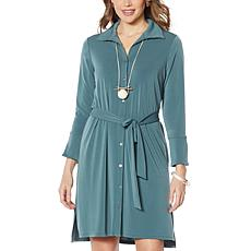 """As Is"" MarlaWynne Luxe Crepe Shirt Dress with Belt"