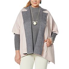 """As Is"" MarlaWynne SoftKNIT Poncho Jacket with Pockets"