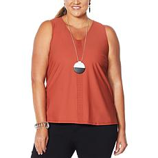 """""""As Is"""" MarlaWynne Stretch Tech Tank with Front Pleats"""