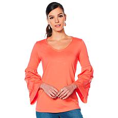 """As Is"" Motto Pima Cotton Tiered Bell-Sleeve Top"