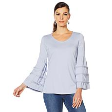"""""""As Is"""" Motto Pima Cotton Tiered Bell-Sleeve Top"""