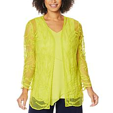 """As Is"" Nina Leonard 3/4-Sleeve Embroidery Mesh Topper"