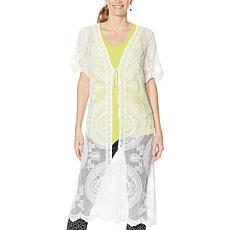 """""""As Is"""" Nina Leonard Embroidered Mesh Topper"""