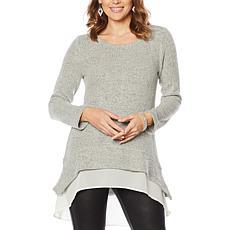 """As Is"" Nina Leonard Hi-Low Novelty Knit Sweater with Chiffon Hem"