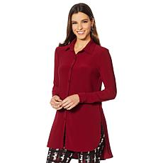 """As Is"" Nina Leonard Miracle Matte Jersey Button-Up Shirt"