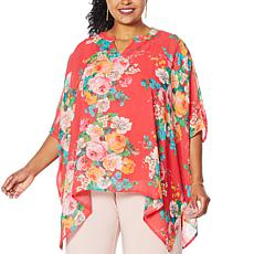 """As Is"" Nina Leonard Printed Chiffon Kimono Tunic with Tank"