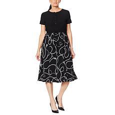 """As Is"" Nina Leonard Short-Sleeve Midi Dress with Drawstring Waist"