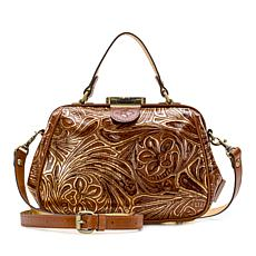 """As Is"" Patricia Nash Gracchi Tooled Leather Frame Satchel"
