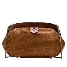 """As Is"" Patricia Nash Gracchi Woven Raffia Frame Satchel"