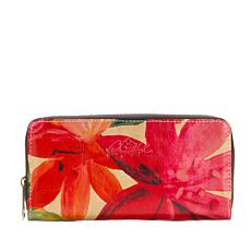 """As Is"" Patricia Nash Lauria Leather Zip-Around Wallet with RFID Te..."