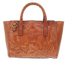 """""""As Is"""" Patricia Nash Mozia Floral Deboss Leather Tote"""