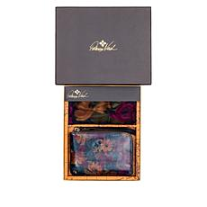 """""""As Is"""" Patricia Nash Reala Leather Wristlet and Print Scarf Gift Set"""