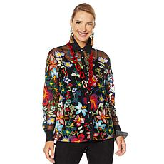 """""""As Is"""" Rara Avis by Iris Apfel Sheer Embroidered Blouse with Cami"""