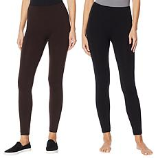 """As Is"" Rhonda Shear 2-pack Fleece Lined Legging - Petite"