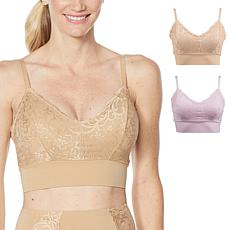 """""""As Is"""" Rhonda Shear 2-pack Lace Leisure Bra with Removable Pads"""