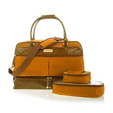 """As Is"" Samantha Brown Drop Bottom Satchel with 2 Zippered Cubes"