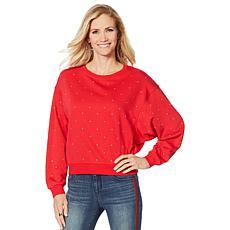 """""""As Is"""" Skinnygirl Embellished Dolman-Sleeve Sweatshirt"""