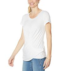 """As Is"" Skinnygirl Hannah Drape-Front Short-Sleeve Tee"
