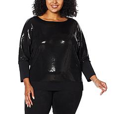 """As Is"" Skinnygirl Spicy Sequined Doman-Sleeve Top"