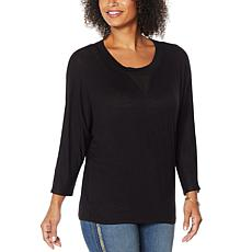 """""""As Is"""" Skinnygirl Truth 3/4-Sleeve Top with Sheer Inset"""