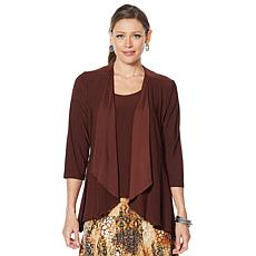 """As Is"" Slinky® Brand 2-piece Drape-Front Peplum Jacket and Tank Set"