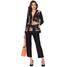 """As Is"" Slinky® Brand 3-piece Printed Jacket and Tank with Solid Pant"