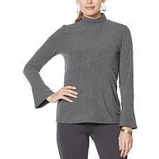 """""""As Is"""" Slinky® Brand Ribbed Knit Mock-Neck Top with Bell Cuffs"""
