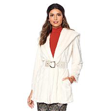 """As Is"" Slinky Brand Shawl-Collar Faux Fur Mink Long Glam Coat"