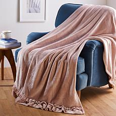 """""""As Is"""" Soft & Cozy Chic Ruffle Trimmed Throw"""