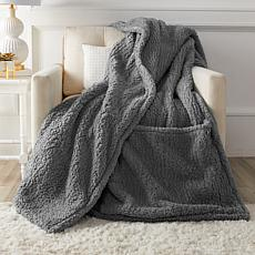 """""""As Is"""" Soft & Cozy Oversized Cloud Plush Footed Throw"""