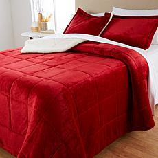 """As Is"" Soft & Cozy Plush Sherpa Comforter Set"