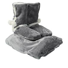 """""""As Is"""" Soft & Cozy Plush Throw and Booties Gift Set"""