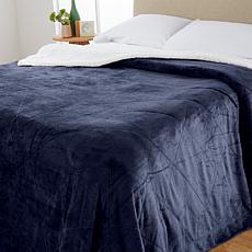 """""""As Is"""" Soft & Cozy Quilted Sherpa Plush Blanket - King"""