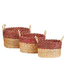 """As Is"" South Street Loft Set of 3 Water Hyacinth Baskets"