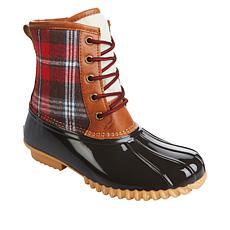 """As Is"" Sporto® Bella Waterproof Lace-Up Duck Boot with Zipper"