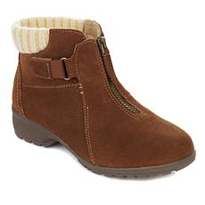 """As Is"" Sporto® Micah Waterproof Suede Knit Collar Bootie"