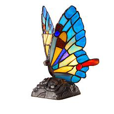 """""""As Is"""" Tiffany-Style Blue Butterfly Art Glass Accent Lamp"""