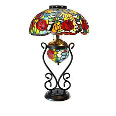 """As Is"" Tiffany-Style Rose Blossom Double Lit Table Lamp"