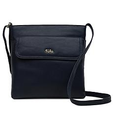 """As Is"" Tula England Medium Zip-Top Grainy Leather Crossbody Bag"