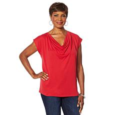 """As Is"" Vanessa Williams Comfort Zone Knit Front Drape Top"