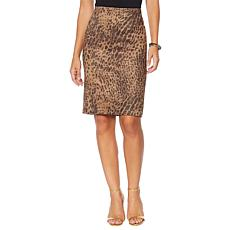 """""""As Is"""" Vanessa Williams Faux Suede Animal-Print Pencil Skirt"""