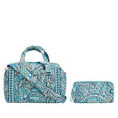 """As Is"" Vera Bradley Iconic Quilted Handbag and Matching RFID Wallet"