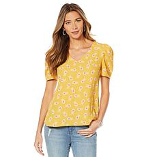 """""""As Is"""" Vince Camuto Puff Shoulder V-Neck Blouse"""
