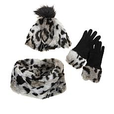 """""""As Is"""" Warm and Cozy 3-piece Faux Fur Hat, Scarf and Gloves Set"""
