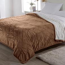 """""""As Is"""" Warm & Cozy Quilted Plush Sherpa Blanket"""